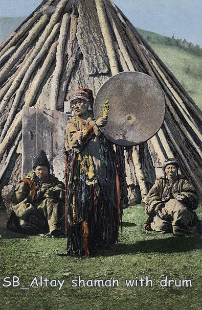 Altay shaman with drum