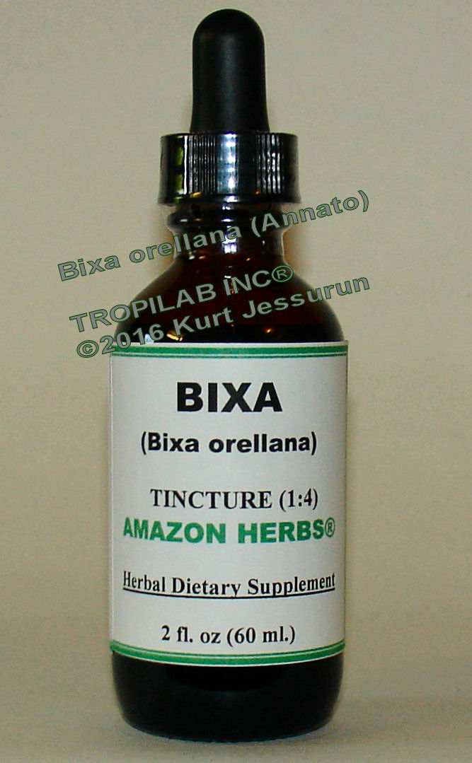 Bixa orellena-Annato tincture only for US$18.65 per 2 fl. oz. Tincture, made from the fruit and seeds, is anti-fungal, anti-oxidant, 
