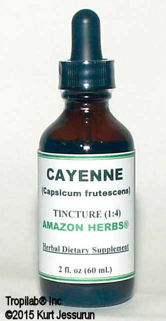 Cayenne pepper, Capsicum fruticosum tincture only for US$28.00 per 2 fl oz. It is helpful for conditions of the gastrointestinal 