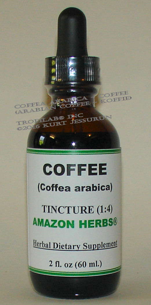 Coffea arabica - Coffee tincture, only for US$18.65 per 2 fl oz. It is a mild natural stimulant and effectively used to keep one alert